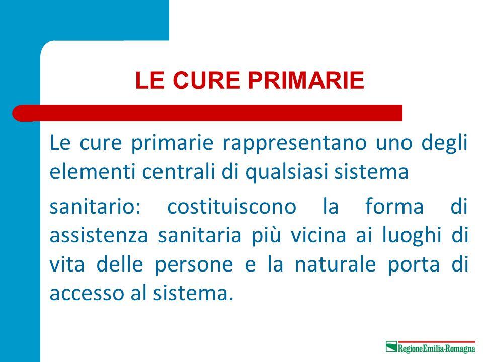 LE CURE PRIMARIE Le cure primarie rappresentano uno degli elementi centrali di qualsiasi sistema sanitario: costituiscono la forma di assistenza sanit