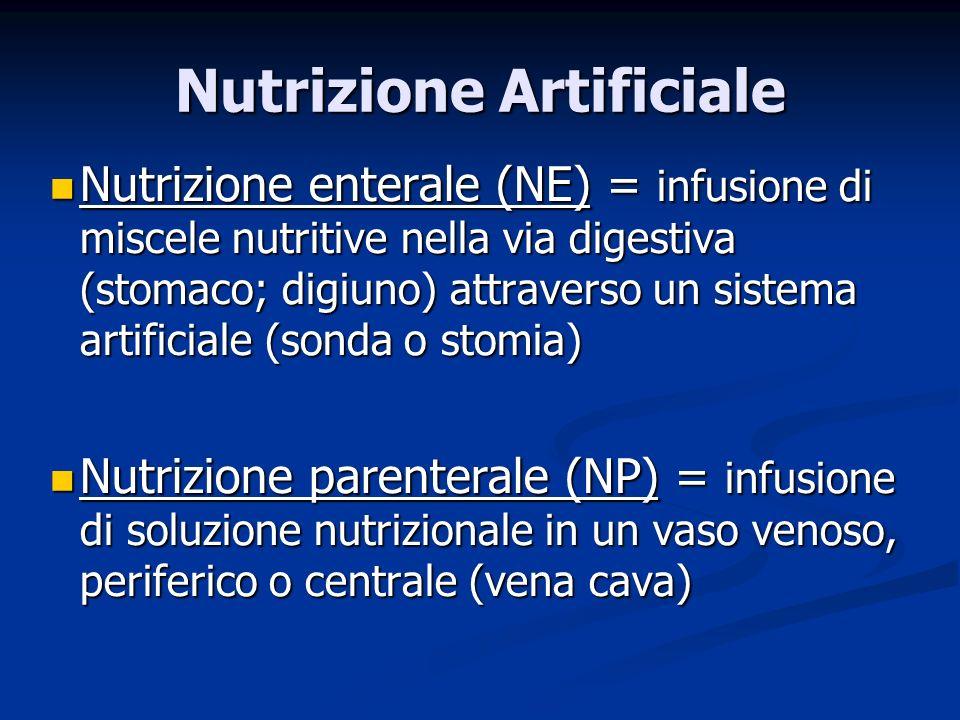 Nutrizione enterale (NE) = infusione di miscele nutritive nella via digestiva (stomaco; digiuno) attraverso un sistema artificiale (sonda o stomia) Nutrizione enterale (NE) = infusione di miscele nutritive nella via digestiva (stomaco; digiuno) attraverso un sistema artificiale (sonda o stomia) Nutrizione parenterale (NP) = infusione di soluzione nutrizionale in un vaso venoso, periferico o centrale (vena cava) Nutrizione parenterale (NP) = infusione di soluzione nutrizionale in un vaso venoso, periferico o centrale (vena cava) Nutrizione Artificiale