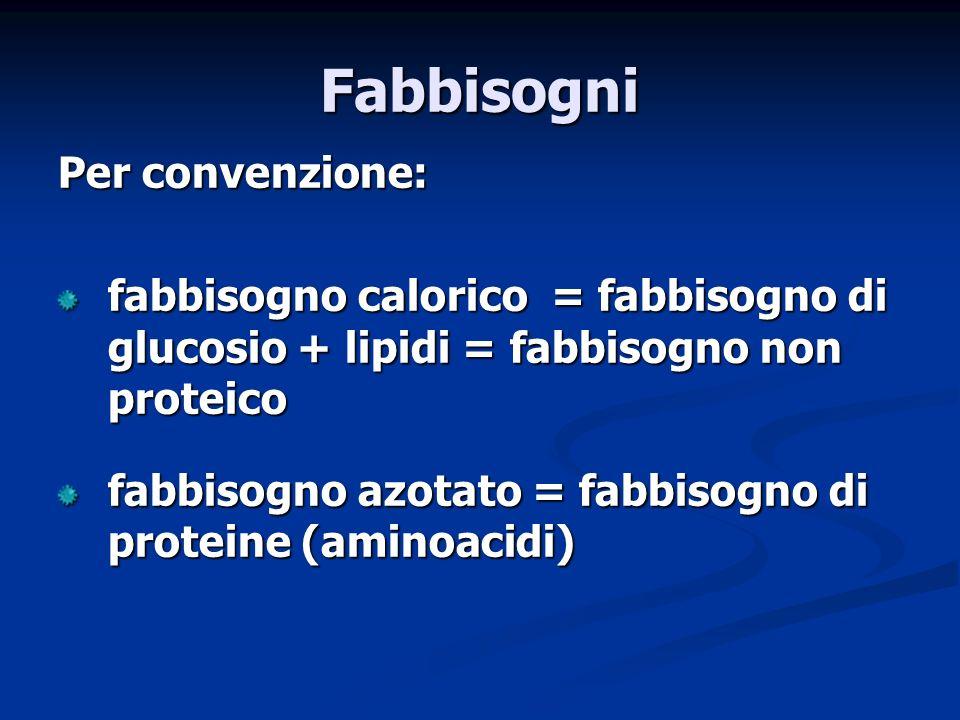 Per convenzione: fabbisogno calorico = fabbisogno di glucosio + lipidi = fabbisogno non proteico fabbisogno azotato = fabbisogno di proteine (aminoacidi) Fabbisogni