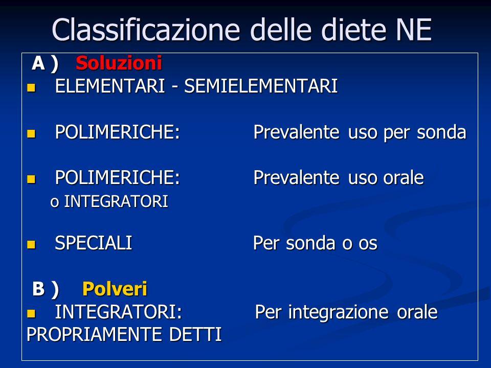 Classificazione delle diete NE A ) Soluzioni A ) Soluzioni ELEMENTARI - SEMIELEMENTARI ELEMENTARI - SEMIELEMENTARI POLIMERICHE: Prevalente uso per sonda POLIMERICHE: Prevalente uso per sonda POLIMERICHE: Prevalente uso orale POLIMERICHE: Prevalente uso orale o INTEGRATORI o INTEGRATORI SPECIALI Per sonda o os SPECIALI Per sonda o os B ) Polveri B ) Polveri INTEGRATORI: Per integrazione orale INTEGRATORI: Per integrazione orale PROPRIAMENTE DETTI