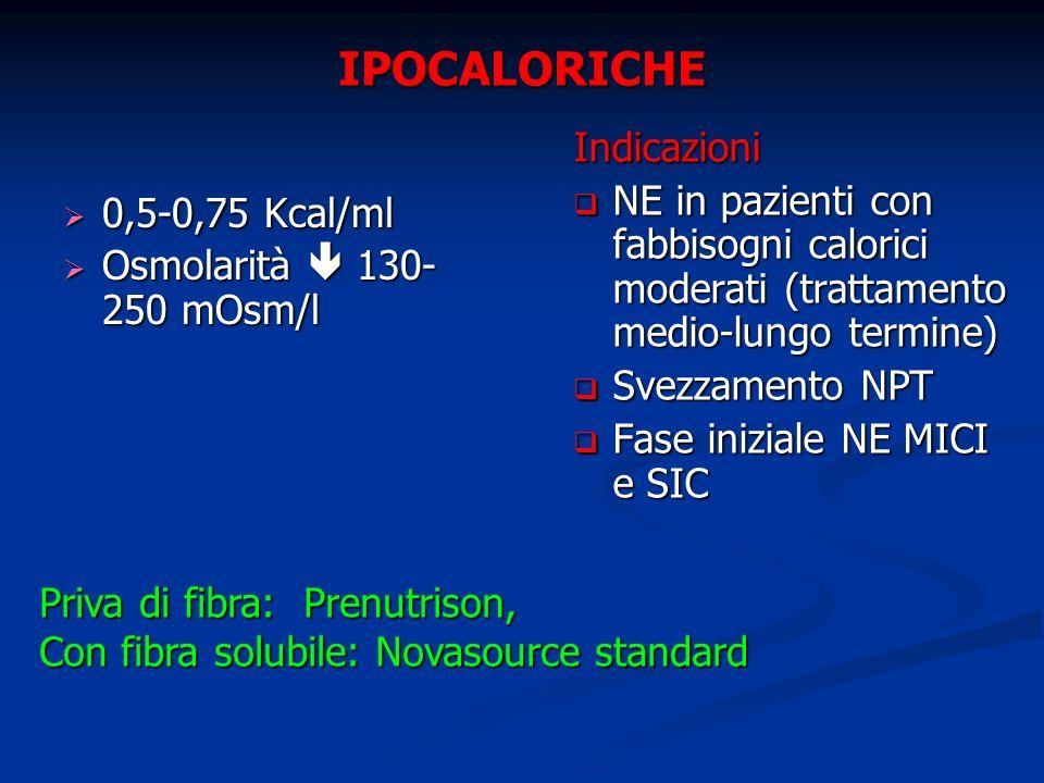 IPOCALORICHE 0,5-0,75 Kcal/ml 0,5-0,75 Kcal/ml Osmolarità 130- 250 mOsm/l Osmolarità 130- 250 mOsm/l Indicazioni NE in pazienti con fabbisogni calorici moderati (trattamento medio-lungo termine) Svezzamento NPT Fase iniziale NE MICI e SIC Priva di fibra: Prenutrison, Con fibra solubile: Novasource standard