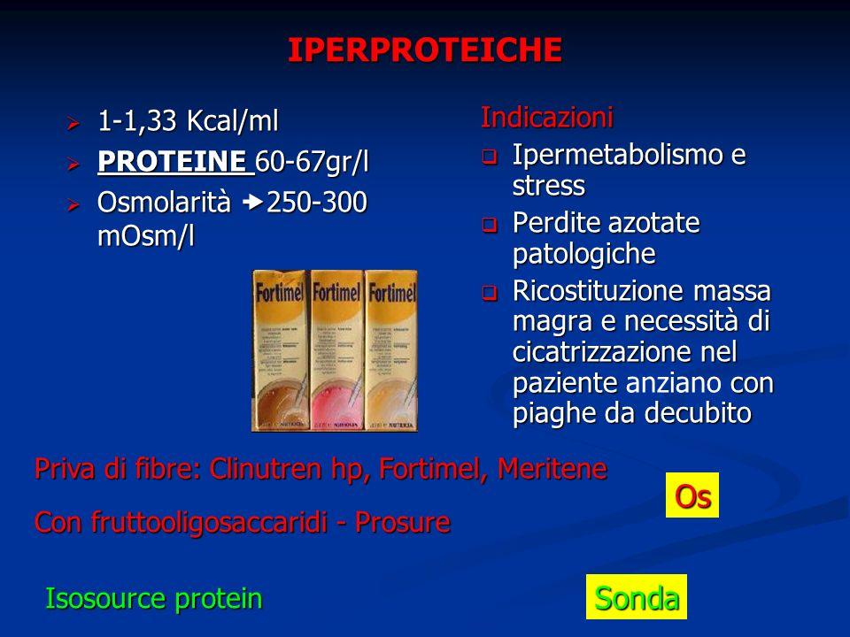 IPERPROTEICHE 1-1,33 Kcal/ml 1-1,33 Kcal/ml PROTEINE 60-67gr/l PROTEINE 60-67gr/l Osmolarità 250-300 mOsm/l Osmolarità 250-300 mOsm/l Indicazioni Iper