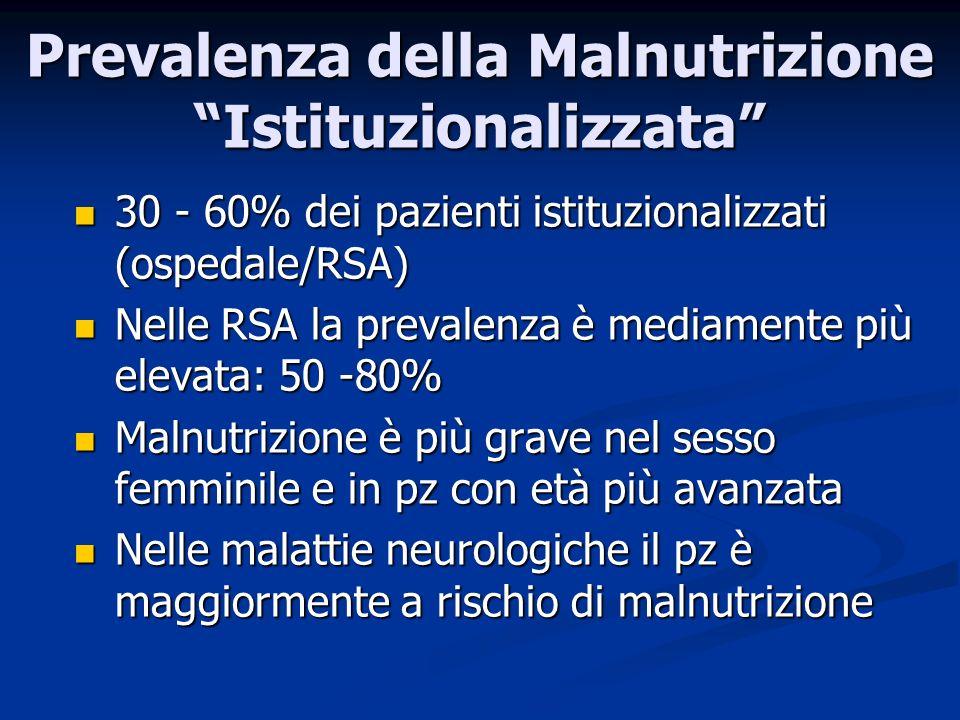 30 - 60% dei pazienti istituzionalizzati (ospedale/RSA) 30 - 60% dei pazienti istituzionalizzati (ospedale/RSA) Nelle RSA la prevalenza è mediamente più elevata: 50 -80% Nelle RSA la prevalenza è mediamente più elevata: 50 -80% Malnutrizione è più grave nel sesso femminile e in pz con età più avanzata Malnutrizione è più grave nel sesso femminile e in pz con età più avanzata Nelle malattie neurologiche il pz è maggiormente a rischio di malnutrizione Nelle malattie neurologiche il pz è maggiormente a rischio di malnutrizione Prevalenza della Malnutrizione Istituzionalizzata