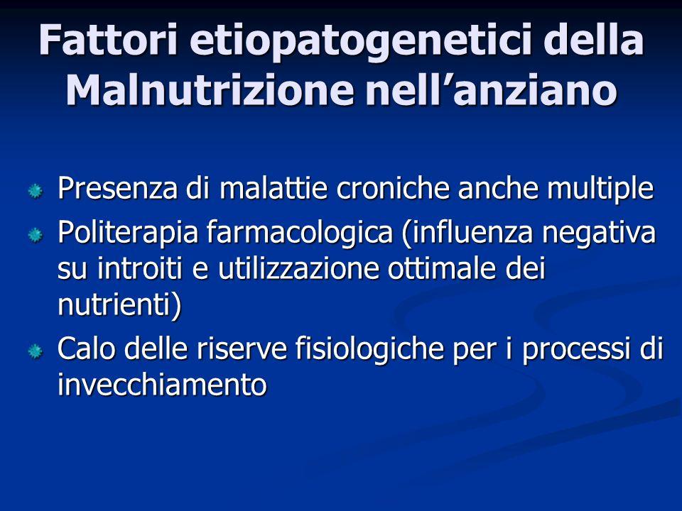 Presenza di malattie croniche anche multiple Politerapia farmacologica (influenza negativa su introiti e utilizzazione ottimale dei nutrienti) Calo delle riserve fisiologiche per i processi di invecchiamento Fattori etiopatogenetici della Malnutrizione nellanziano