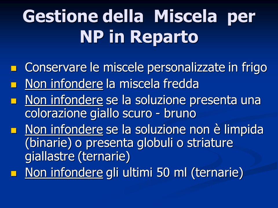 Gestione della Miscela per NP in Reparto Conservare le miscele personalizzate in frigo Conservare le miscele personalizzate in frigo Non infondere la