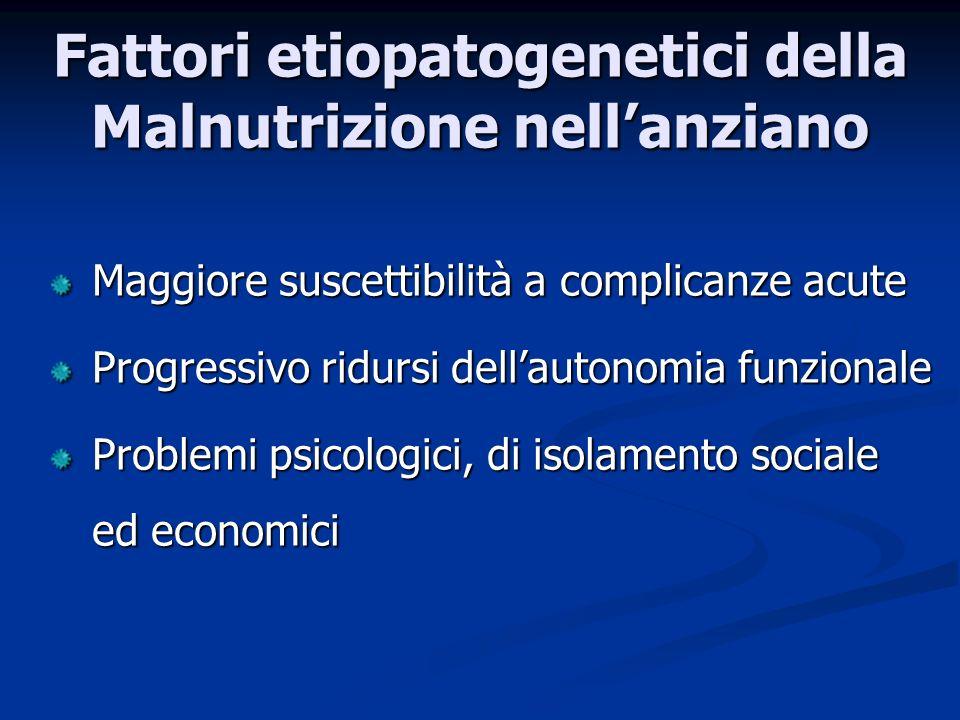 Maggiore suscettibilità a complicanze acute Progressivo ridursi dellautonomia funzionale Problemi psicologici, di isolamento sociale ed economici Fattori etiopatogenetici della Malnutrizione nellanziano