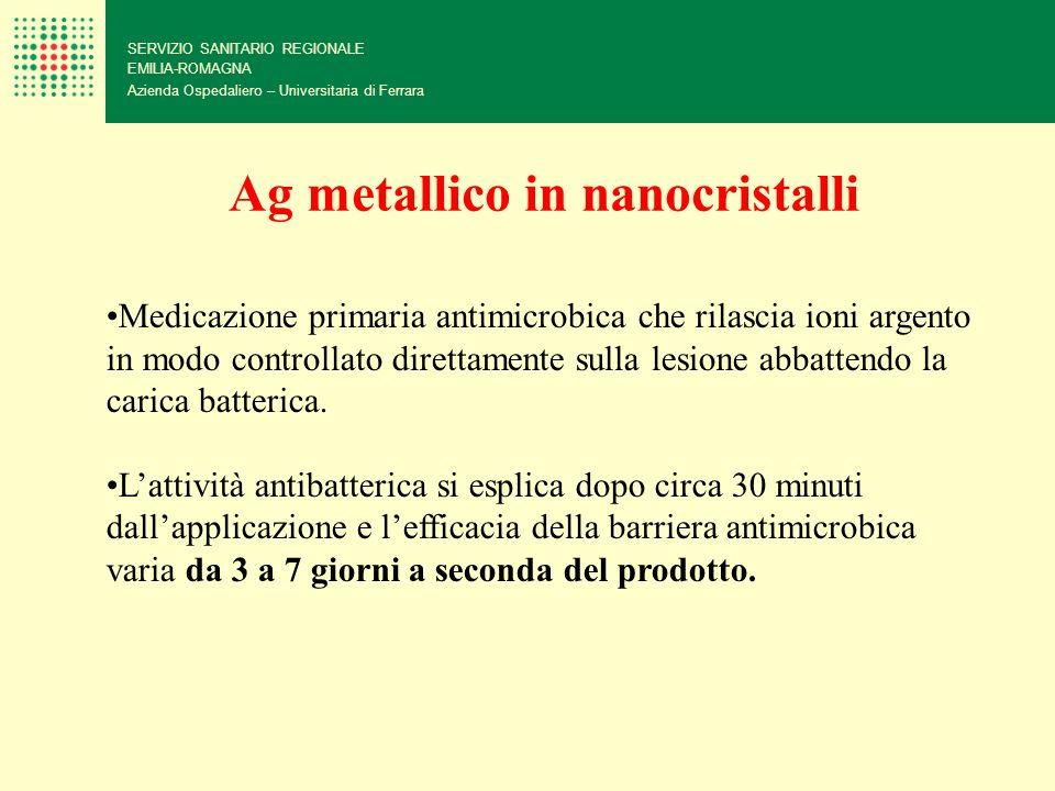 SERVIZIO SANITARIO REGIONALE EMILIA-ROMAGNA Azienda Ospedaliero – Universitaria di Ferrara Ag metallico in nanocristalli Medicazione primaria antimicr