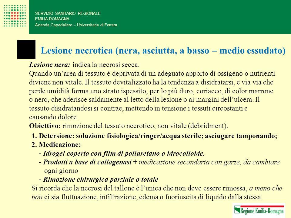 SERVIZIO SANITARIO REGIONALE EMILIA-ROMAGNA Azienda Ospedaliero – Universitaria di Ferrara Lesione necrotica (nera, asciutta, a basso – medio essudato