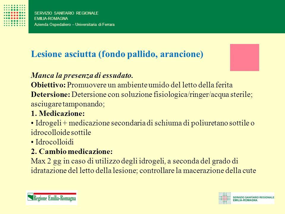 SERVIZIO SANITARIO REGIONALE EMILIA-ROMAGNA Azienda Ospedaliero – Universitaria di Ferrara Lesione asciutta (fondo pallido, arancione) Manca la presen