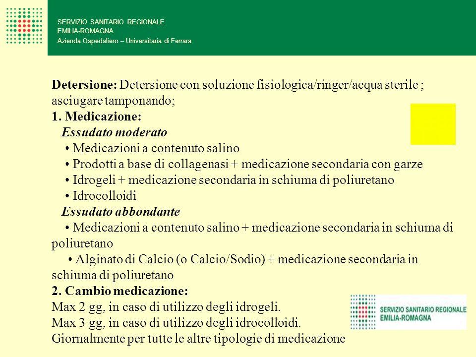 SERVIZIO SANITARIO REGIONALE EMILIA-ROMAGNA Azienda Ospedaliero – Universitaria di Ferrara Detersione: Detersione con soluzione fisiologica/ringer/acq