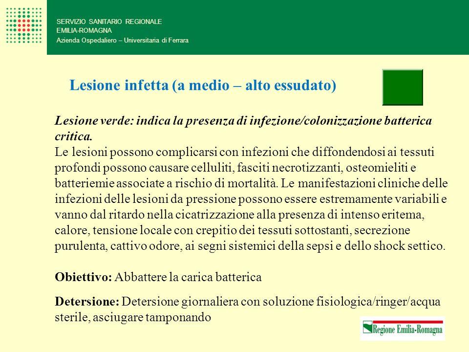 SERVIZIO SANITARIO REGIONALE EMILIA-ROMAGNA Azienda Ospedaliero – Universitaria di Ferrara Lesione infetta (a medio – alto essudato) Lesione verde: in