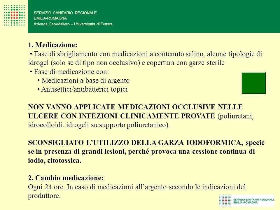 SERVIZIO SANITARIO REGIONALE EMILIA-ROMAGNA Azienda Ospedaliero – Universitaria di Ferrara 1. Medicazione: Fase di sbrigliamento con medicazioni a con