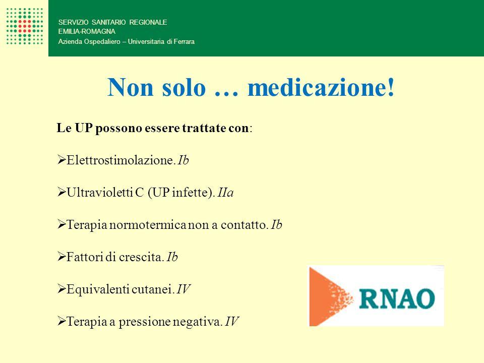 SERVIZIO SANITARIO REGIONALE EMILIA-ROMAGNA Azienda Ospedaliero – Universitaria di Ferrara Non solo … medicazione! Le UP possono essere trattate con: