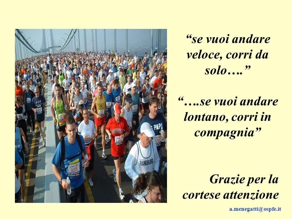 se vuoi andare veloce, corri da solo…. ….se vuoi andare lontano, corri in compagnia Grazie per la cortese attenzione a.menegatti@ospfe.it
