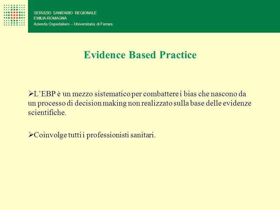 Evidence Based Practice LEBP è un mezzo sistematico per combattere i bias che nascono da un processo di decision making non realizzato sulla base dell
