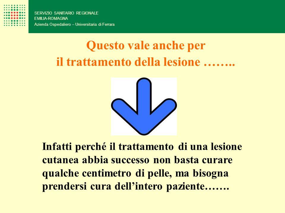 SERVIZIO SANITARIO REGIONALE EMILIA-ROMAGNA Azienda Ospedaliero – Universitaria di Ferrara Infatti perché il trattamento di una lesione cutanea abbia