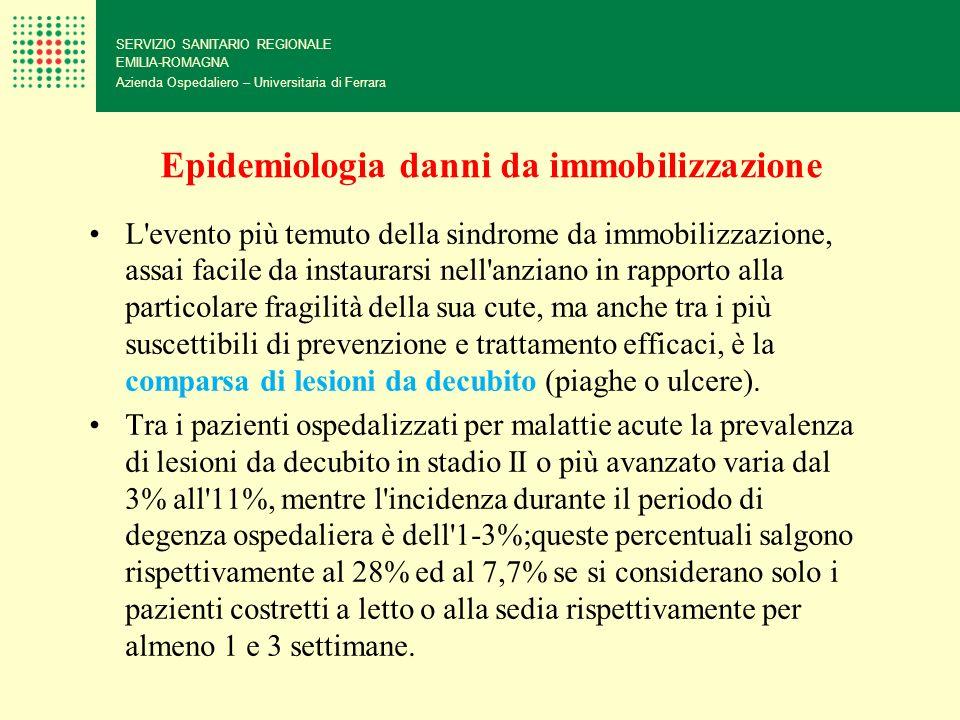 Epidemiologia danni da immobilizzazione L'evento più temuto della sindrome da immobilizzazione, assai facile da instaurarsi nell'anziano in rapporto a