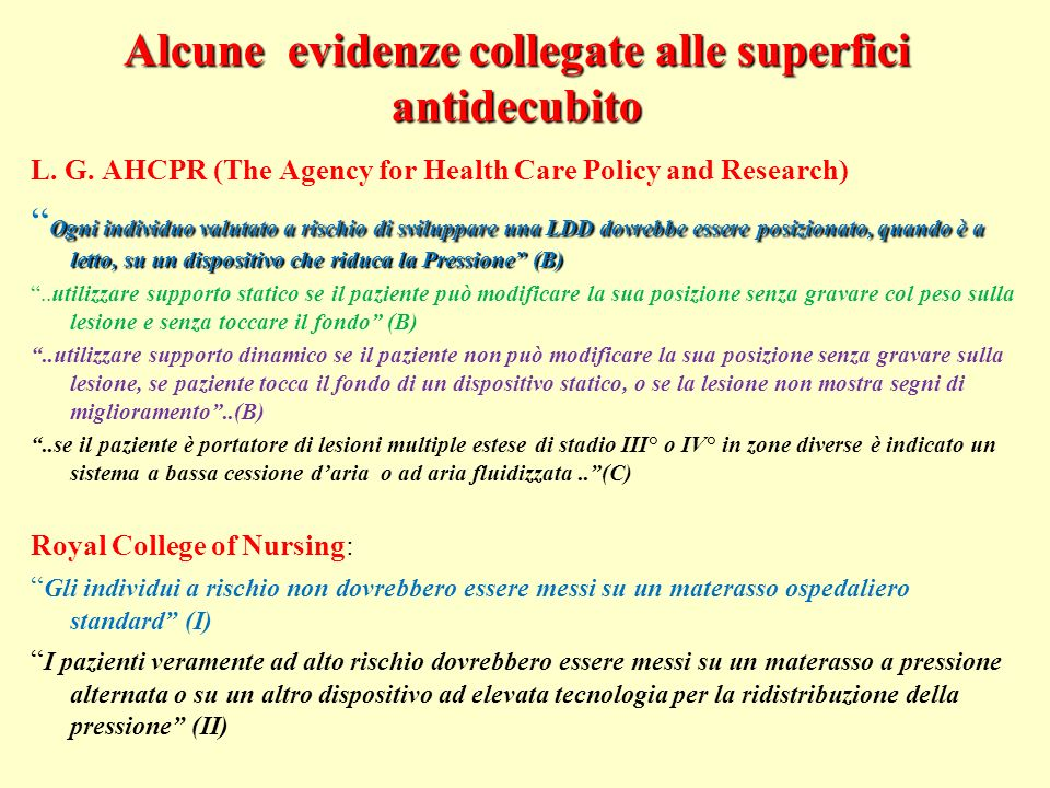 Alcune evidenze collegate alle superfici antidecubito L. G. AHCPR (The Agency for Health Care Policy and Research) Ogni individuo valutato a rischio d