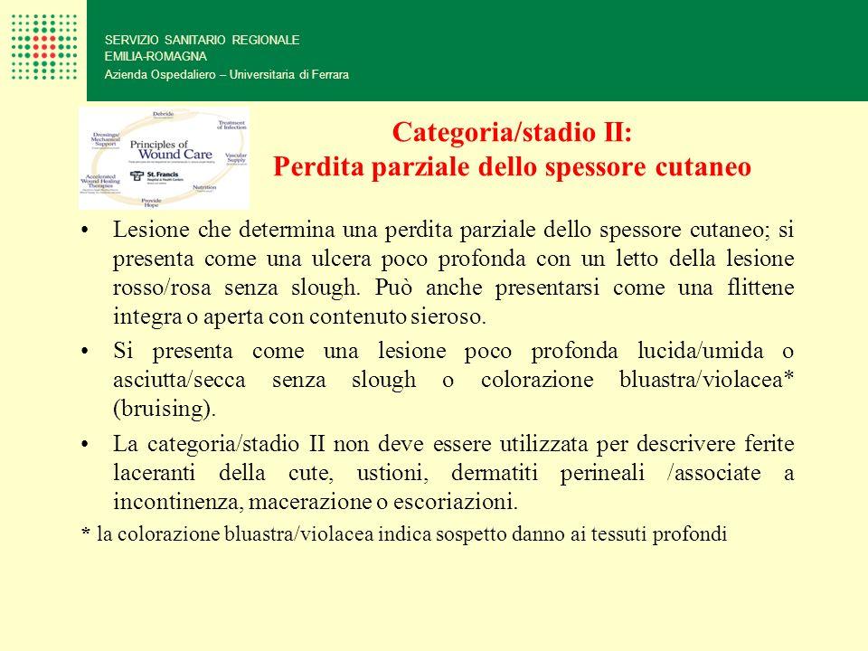 Categoria/stadio II: Perdita parziale dello spessore cutaneo SERVIZIO SANITARIO REGIONALE EMILIA-ROMAGNA Azienda Ospedaliero – Universitaria di Ferrar