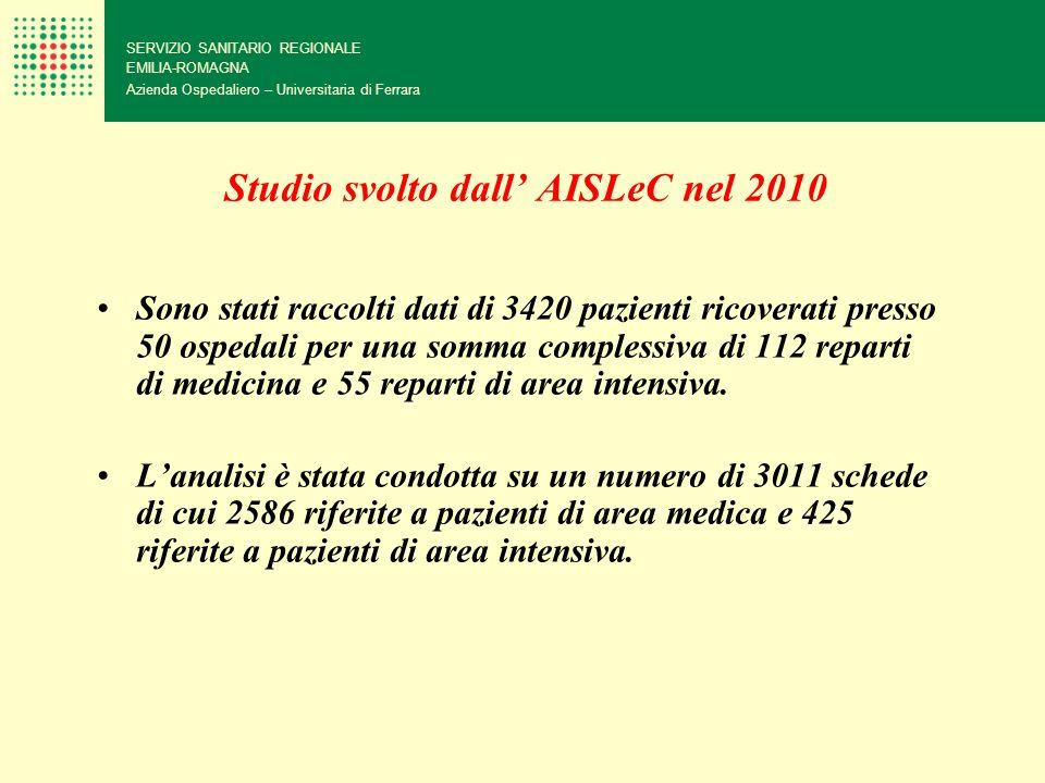Studio svolto dall AISLeC nel 2010 Sono stati raccolti dati di 3420 pazienti ricoverati presso 50 ospedali per una somma complessiva di 112 reparti di