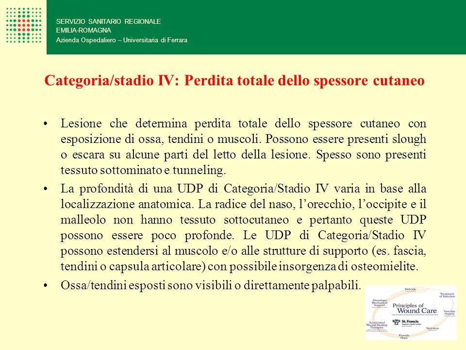 Categoria/stadio IV: Perdita totale dello spessore cutaneo SERVIZIO SANITARIO REGIONALE EMILIA-ROMAGNA Azienda Ospedaliero – Universitaria di Ferrara