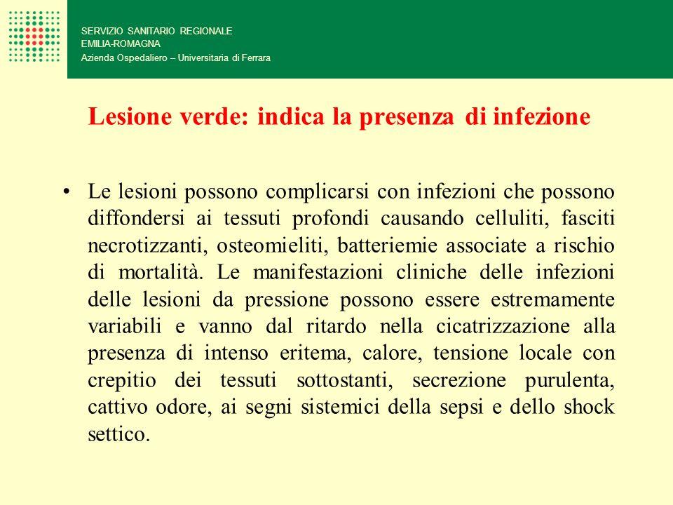 Lesione verde: indica la presenza di infezione SERVIZIO SANITARIO REGIONALE EMILIA-ROMAGNA Azienda Ospedaliero – Universitaria di Ferrara Le lesioni p