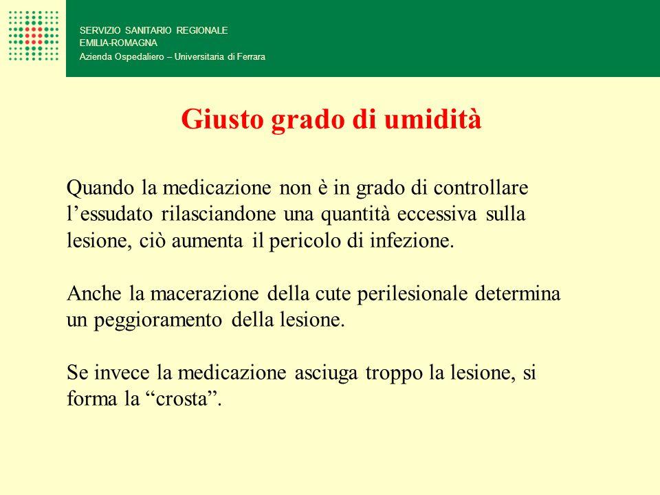 SERVIZIO SANITARIO REGIONALE EMILIA-ROMAGNA Azienda Ospedaliero – Universitaria di Ferrara Giusto grado di umidità Quando la medicazione non è in grad