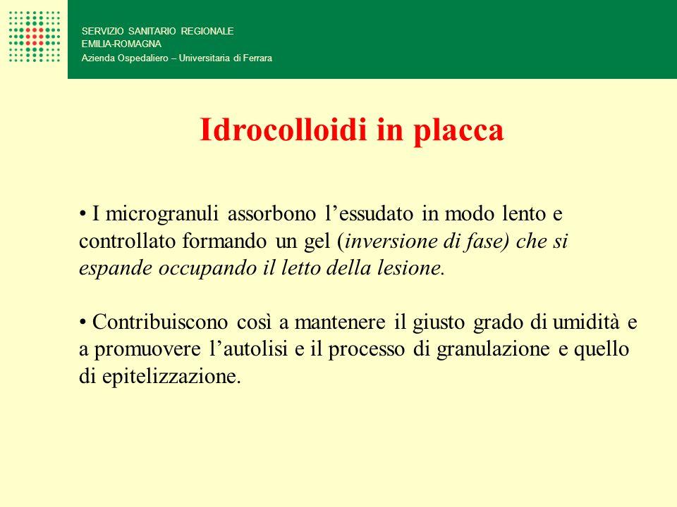 SERVIZIO SANITARIO REGIONALE EMILIA-ROMAGNA Azienda Ospedaliero – Universitaria di Ferrara I microgranuli assorbono lessudato in modo lento e controll
