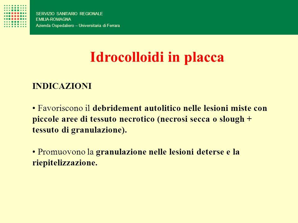 SERVIZIO SANITARIO REGIONALE EMILIA-ROMAGNA Azienda Ospedaliero – Universitaria di Ferrara Idrocolloidi in placca INDICAZIONI Favoriscono il debrideme