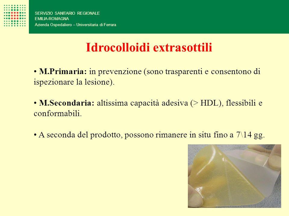 SERVIZIO SANITARIO REGIONALE EMILIA-ROMAGNA Azienda Ospedaliero – Universitaria di Ferrara Idrocolloidi extrasottili M.Primaria: in prevenzione (sono