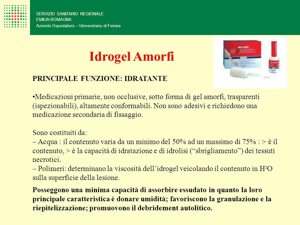 SERVIZIO SANITARIO REGIONALE EMILIA-ROMAGNA Azienda Ospedaliero – Universitaria di Ferrara Idrogel Amorfi PRINCIPALE FUNZIONE: IDRATANTE Medicazioni p