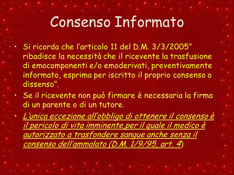 Consenso Informato Si ricorda che larticolo 11 del D.M. 3/3/2005 ribadisce la necessità che il ricevente la trasfusione di emocomponenti e/o emoderiva