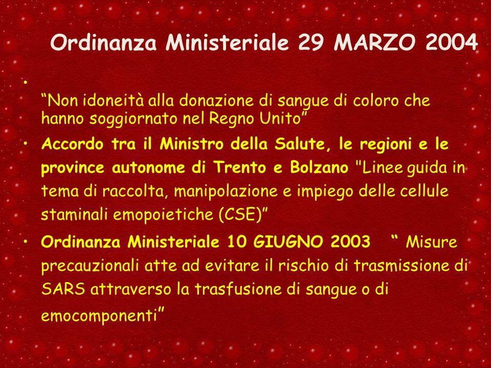 Ordinanza Ministeriale 29 MARZO 2004 Non idoneità alla donazione di sangue di coloro che hanno soggiornato nel Regno Unito Accordo tra il Ministro del