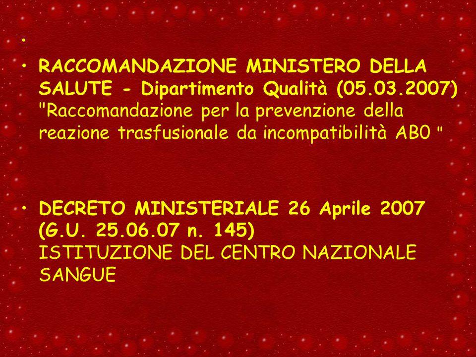 RACCOMANDAZIONE MINISTERO DELLA SALUTE - Dipartimento Qualità (05.03.2007)