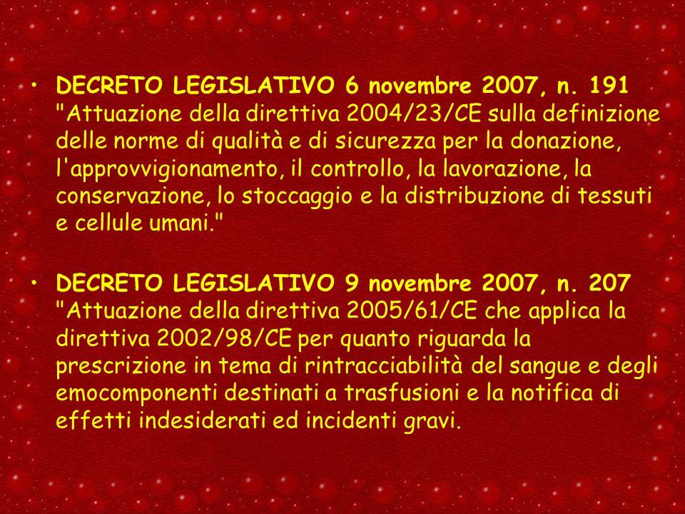 DECRETO LEGISLATIVO 6 novembre 2007, n. 191