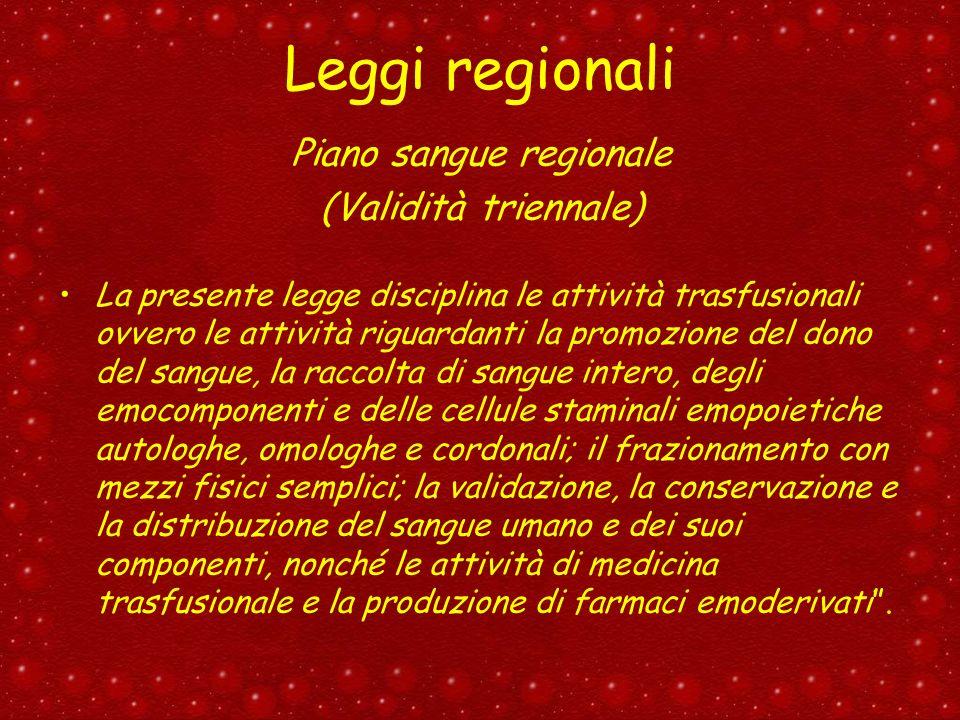 Leggi regionali Piano sangue regionale (Validità triennale) La presente legge disciplina le attività trasfusionali ovvero le attività riguardanti la p