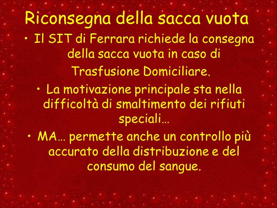 Riconsegna della sacca vuota Il SIT di Ferrara richiede la consegna della sacca vuota in caso di Trasfusione Domiciliare. La motivazione principale st
