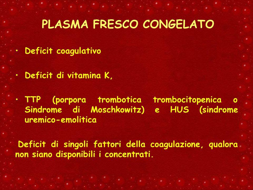 PLASMA FRESCO CONGELATO Deficit coagulativo Deficit di vitamina K, TTP (porpora trombotica trombocitopenica o Sindrome di Moschkowitz) e HUS (sindrome
