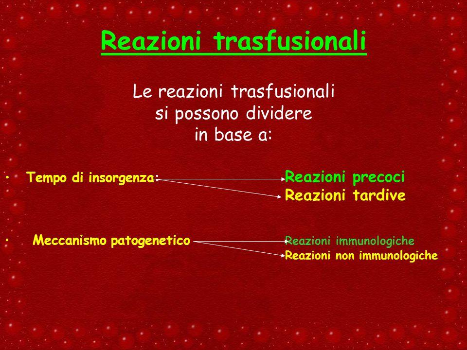 Le reazioni trasfusionali si possono dividere in base a: Tempo di insorgenza: Reazioni precoci Reazioni tardive Meccanismo patogenetico Reazioni immun