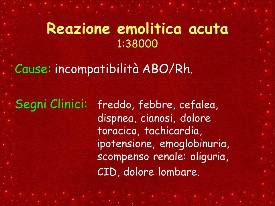 Reazione emolitica acuta 1:38000 Cause: incompatibilità ABO/Rh. Segni Clinici: freddo, febbre, cefalea, dispnea, cianosi, dolore toracico, tachicardia