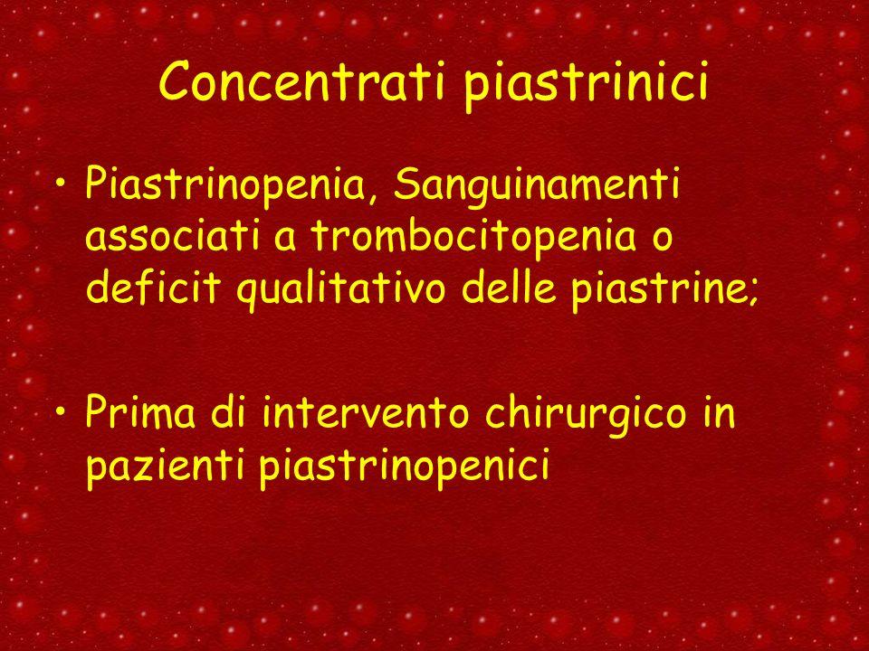 Concentrati piastrinici Piastrinopenia, Sanguinamenti associati a trombocitopenia o deficit qualitativo delle piastrine; Prima di intervento chirurgic