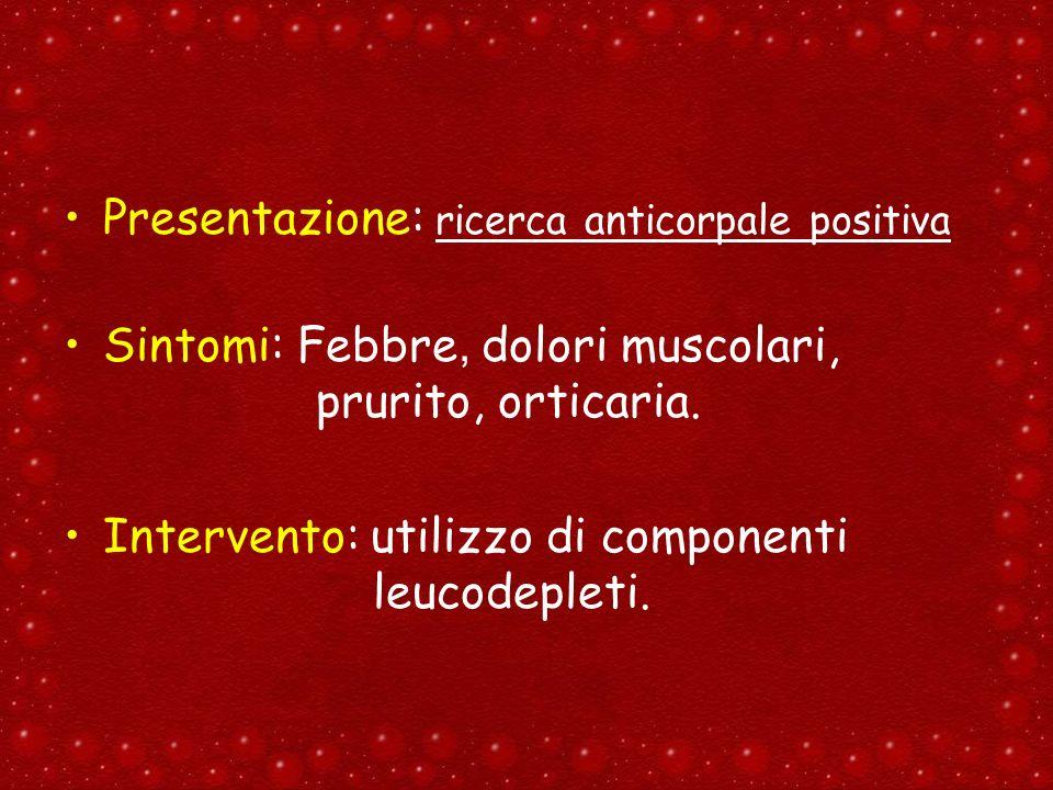 Presentazione: ricerca anticorpale positiva Sintomi: Febbre, dolori muscolari, prurito, orticaria. Intervento: utilizzo di componenti leucodepleti.