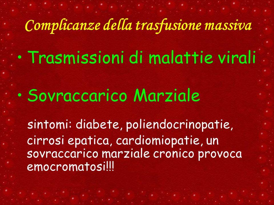 Complicanze della trasfusione massiva Trasmissioni di malattie virali Sovraccarico Marziale sintomi: diabete, poliendocrinopatie, cirrosi epatica, car