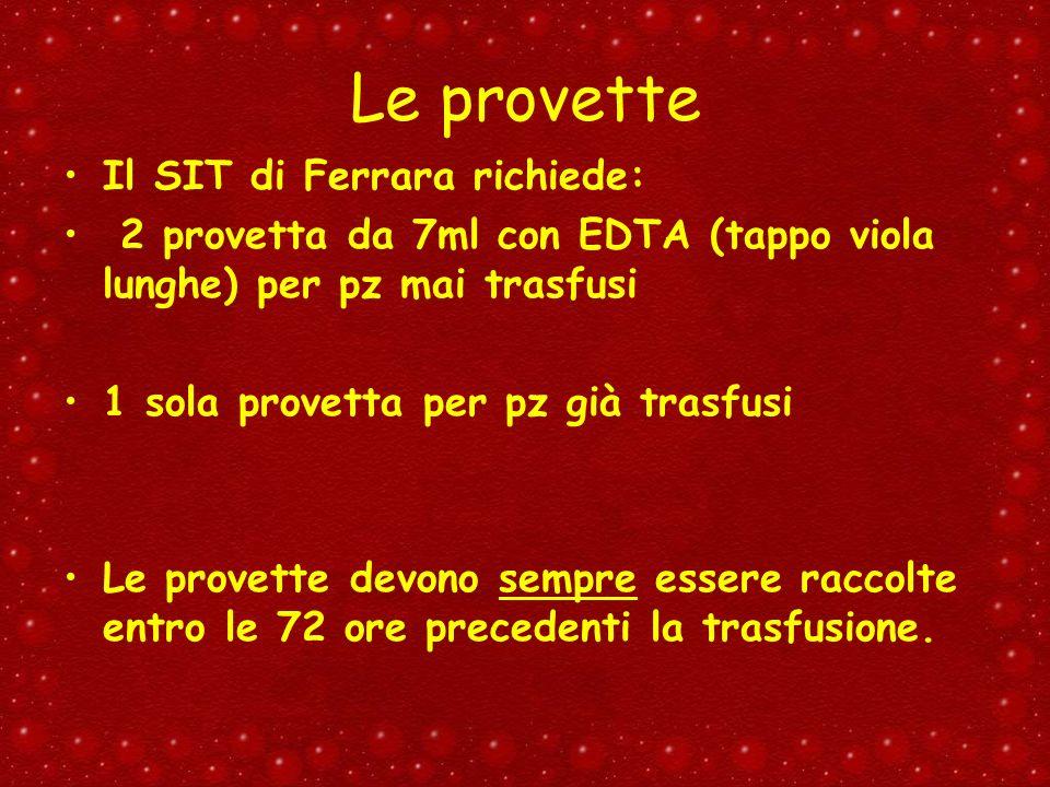 Le provette Il SIT di Ferrara richiede: 2 provetta da 7ml con EDTA (tappo viola lunghe) per pz mai trasfusi 1 sola provetta per pz già trasfusi Le pro