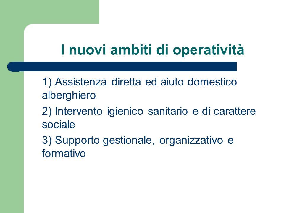 I nuovi ambiti di operatività 1) Assistenza diretta ed aiuto domestico alberghiero 2) Intervento igienico sanitario e di carattere sociale 3) Supporto
