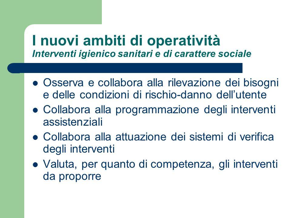 I nuovi ambiti di operatività Interventi igienico sanitari e di carattere sociale Osserva e collabora alla rilevazione dei bisogni e delle condizioni