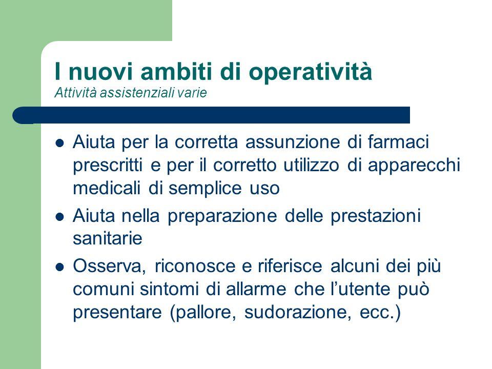 I nuovi ambiti di operatività Attività assistenziali varie Aiuta per la corretta assunzione di farmaci prescritti e per il corretto utilizzo di appare