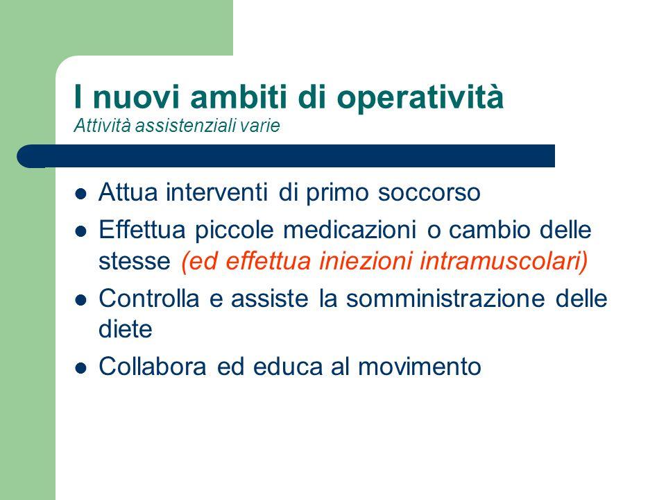 I nuovi ambiti di operatività Attività assistenziali varie Attua interventi di primo soccorso Effettua piccole medicazioni o cambio delle stesse (ed e