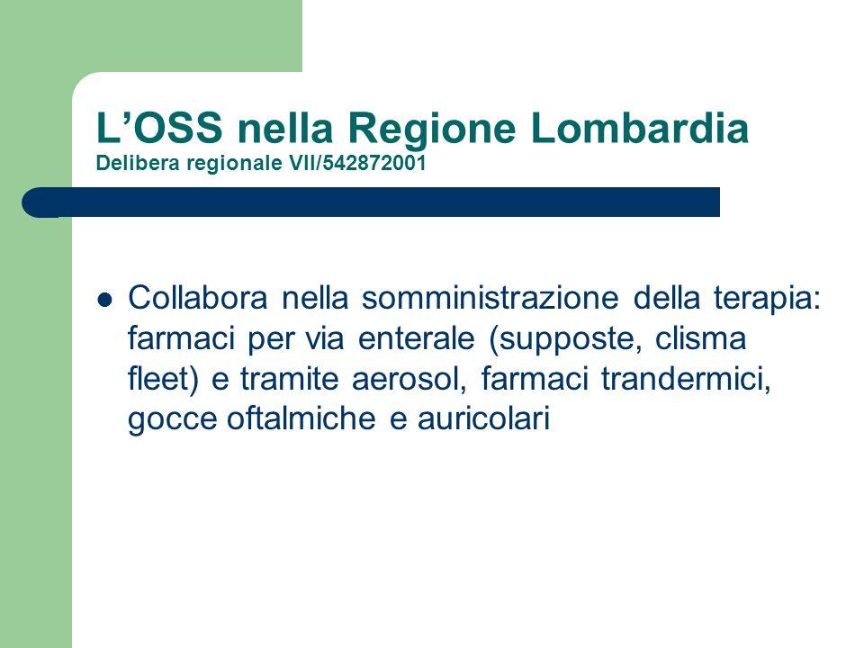 LOSS nella Regione Lombardia Delibera regionale VII/542872001 Collabora nella somministrazione della terapia: farmaci per via enterale (supposte, clis
