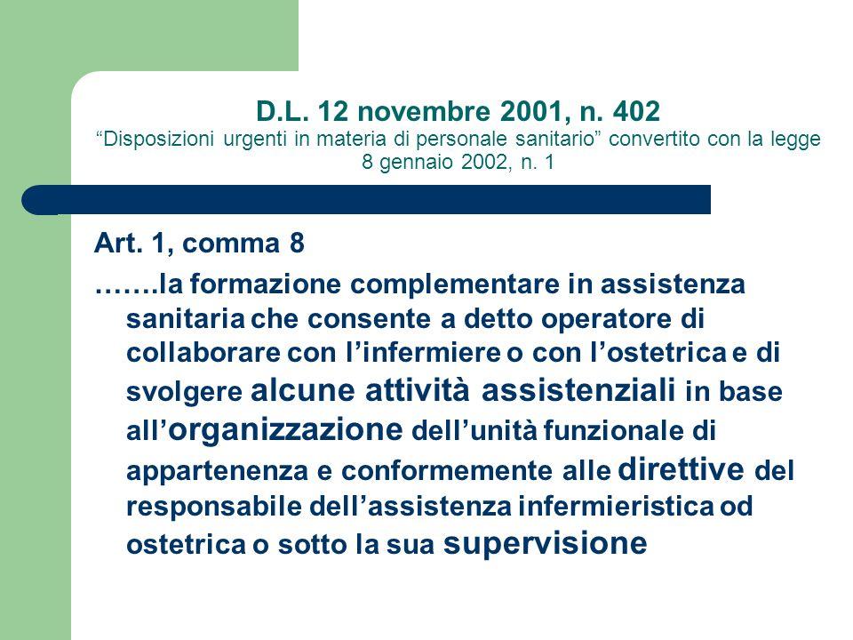 D.L. 12 novembre 2001, n. 402 Disposizioni urgenti in materia di personale sanitario convertito con la legge 8 gennaio 2002, n. 1 Art. 1, comma 8 …….l
